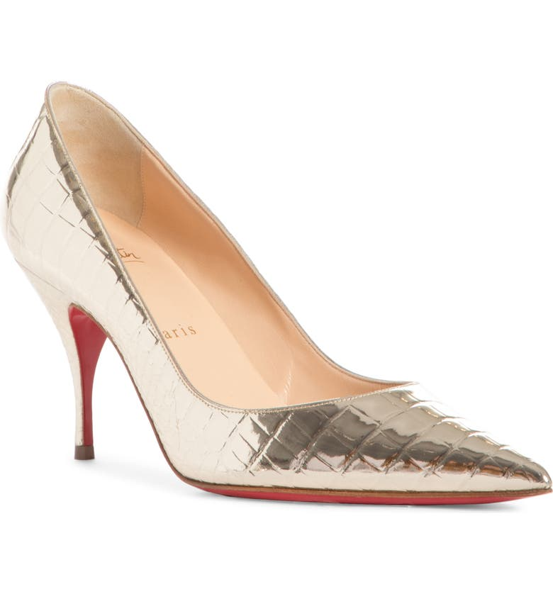 CHRISTIAN LOUBOUTIN Cocco Metallic Croc Embossed Pointed Toe Pump, Main, color, PLATINE