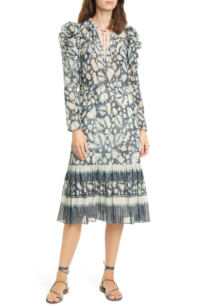ULLA JOHNSON Nadia Floral Long Sleeve Midi Dress, Main, color, 400