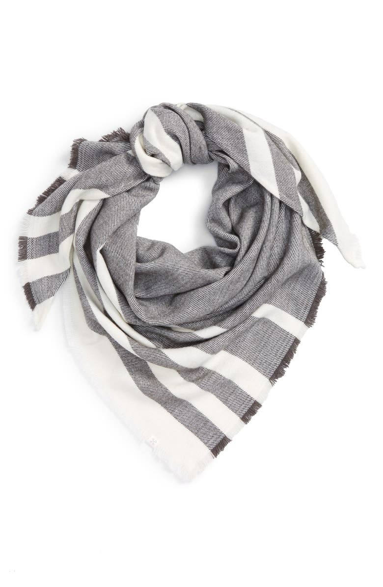 CASLON<SUP>®</SUP> Striped Triangle Scarf, Main, color, GREY COMBO
