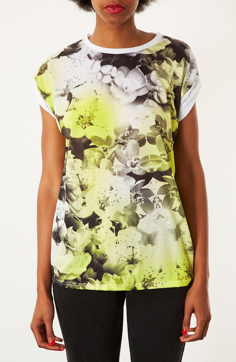 TOPSHOP Floral Photo Tee, Main, color, YELLOW/ WHITE