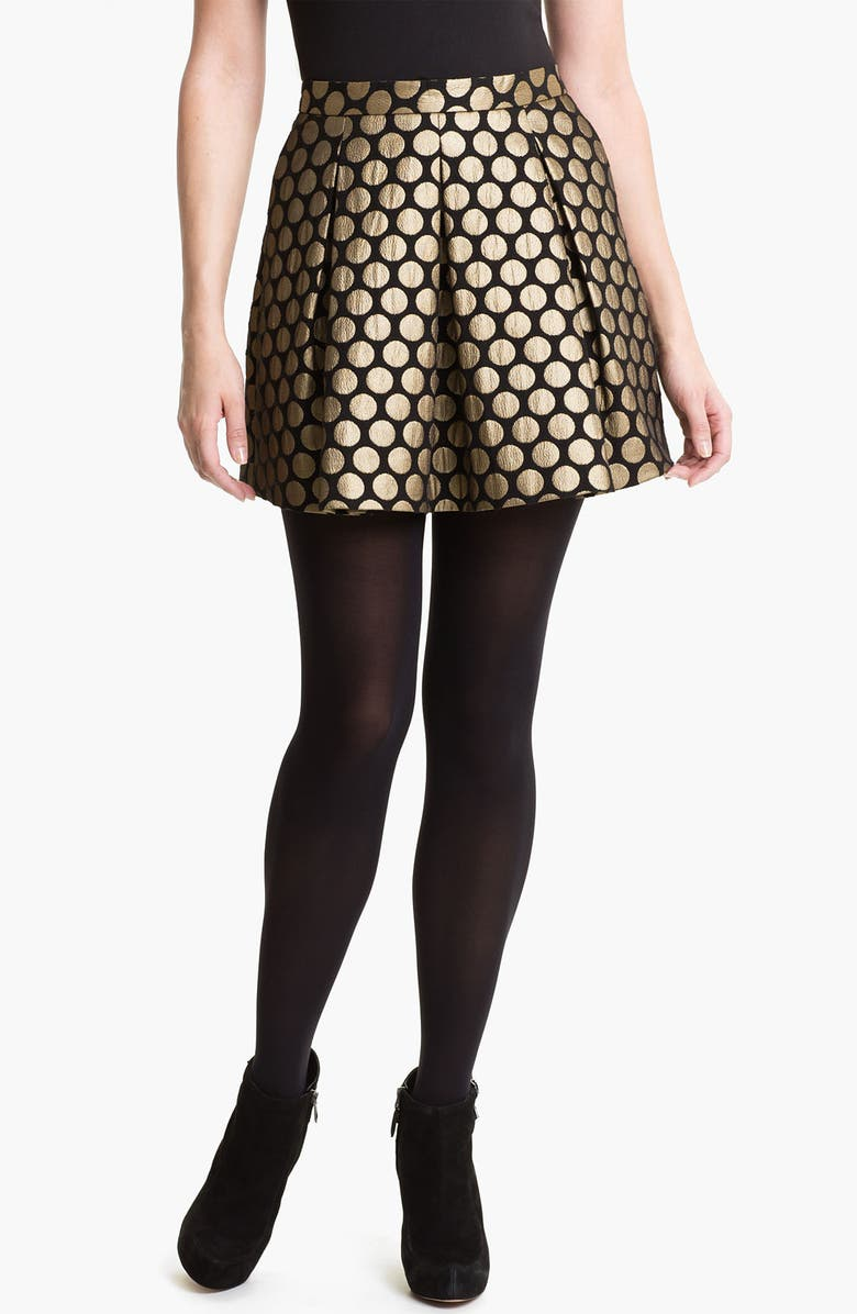 VINCE CAMUTO Dotted Jacquard Skirt, Main, color, BLACK GOLD