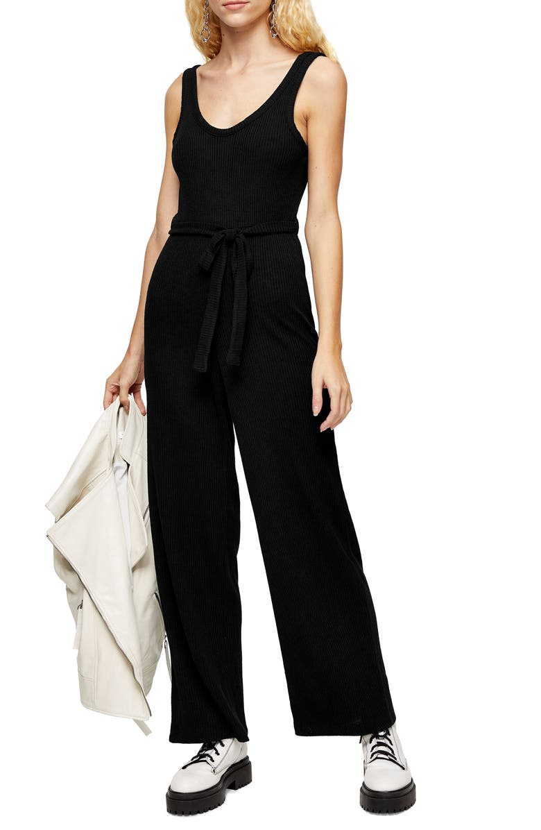 TOPSHOP Ribbed Slouch Sleeveless Jumpsuit, Main, color, 001