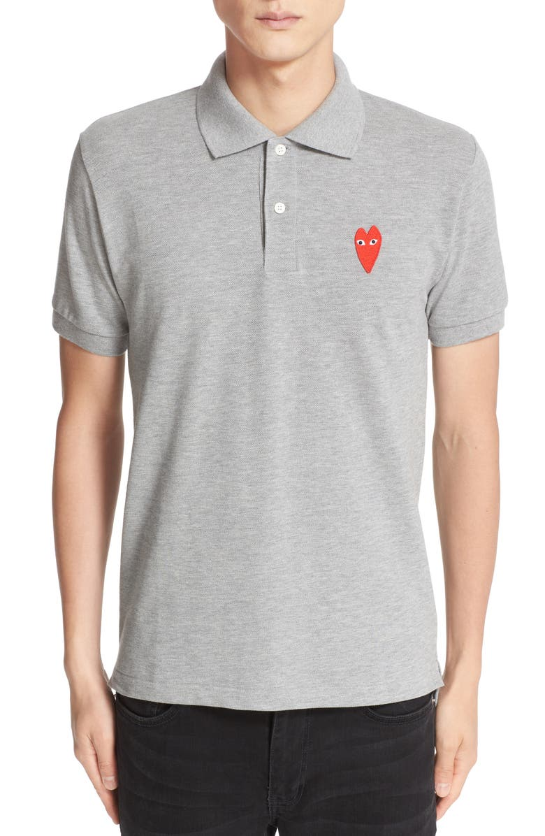COMME DES GARÇONS PLAY Stretch Heart Face Polo, Main, color, TOP DYED GREY