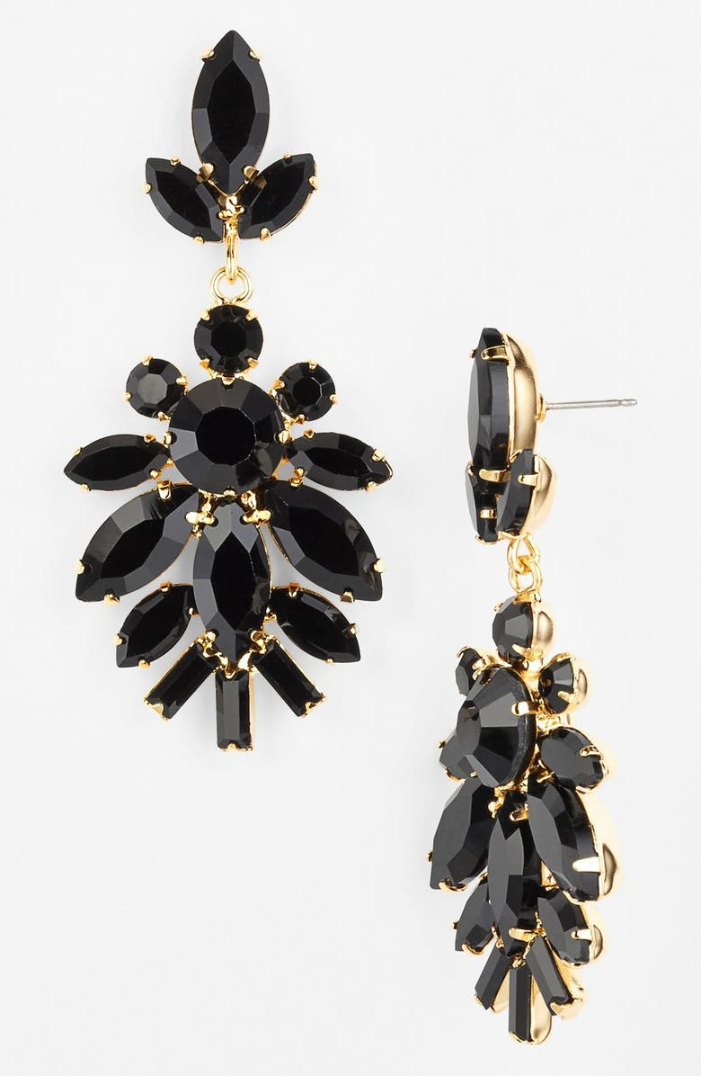 NORDSTROM Stone Drop Earrings, Main, color, JET/ GOLD