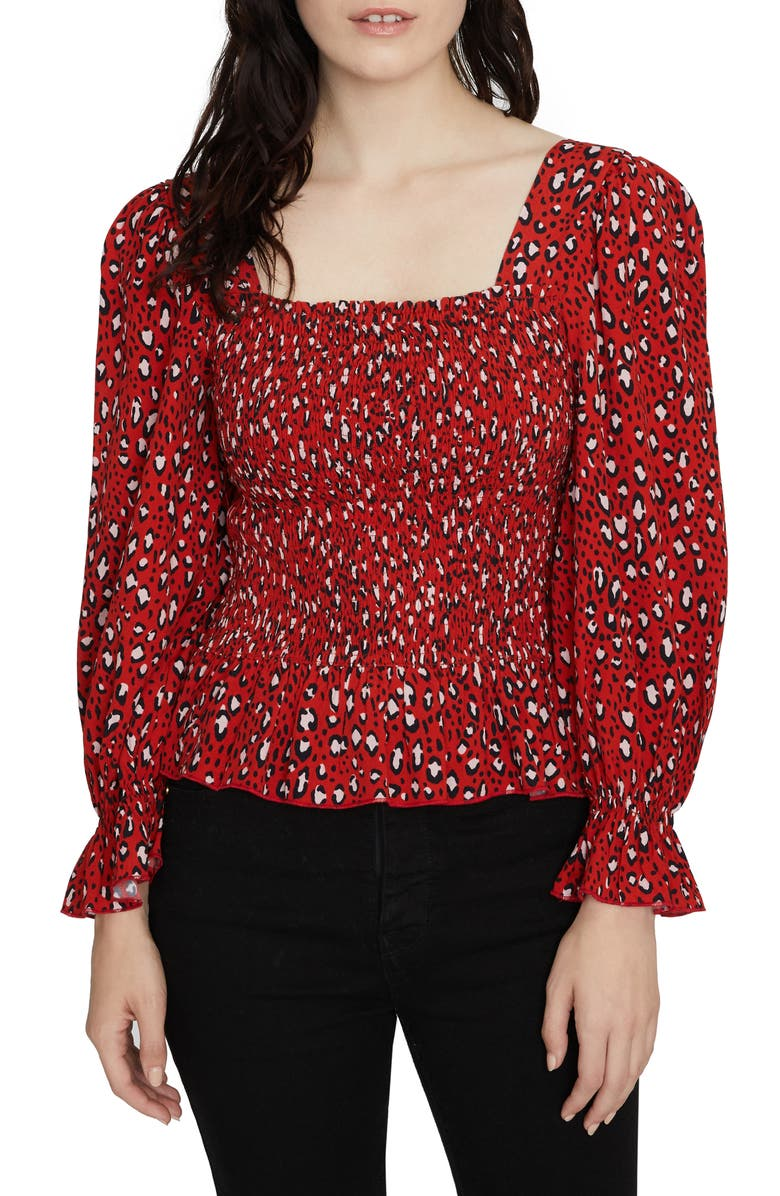 SANCTUARY Electra Print Smocked Top, Main, color, 620