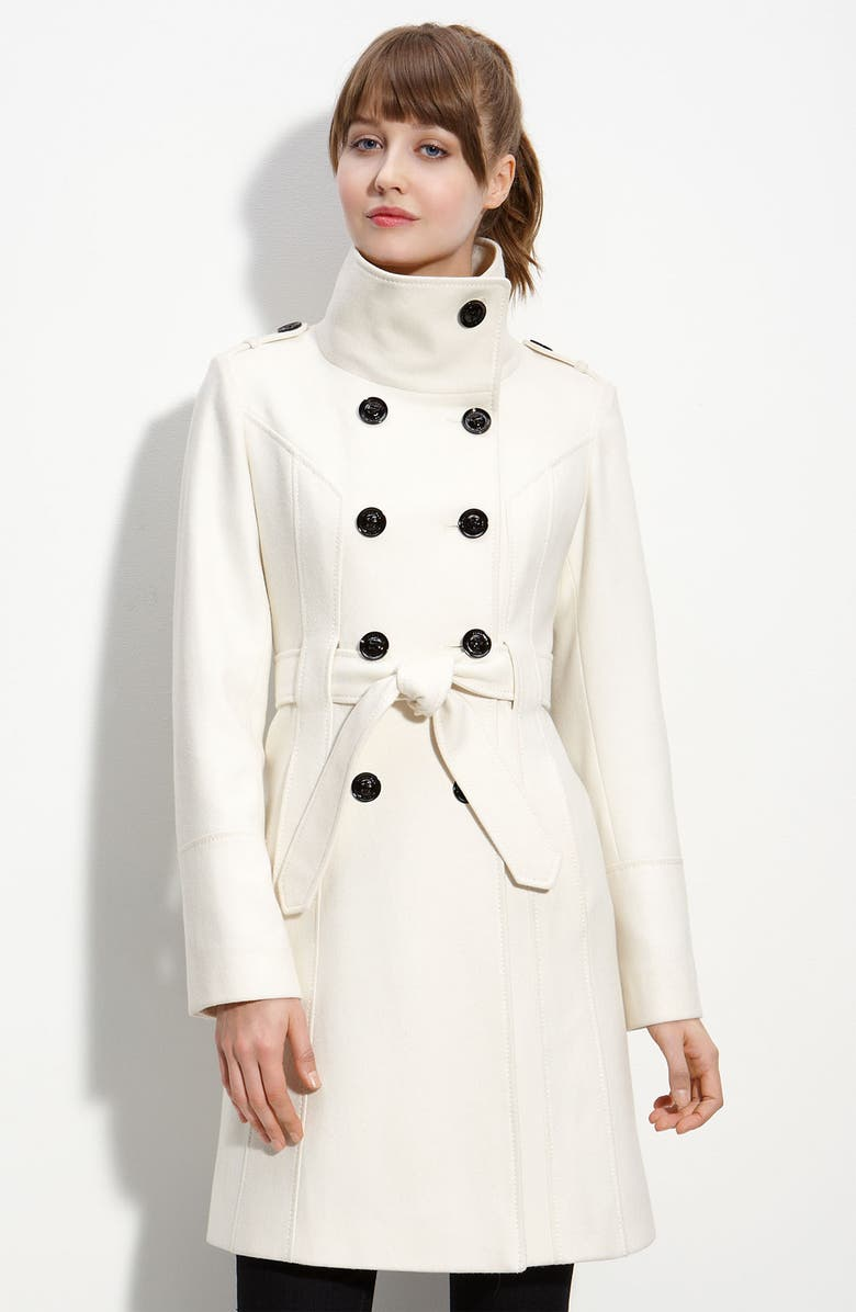 GUESS Double Breasted Wool Blend Trench, Main, color, WINTER WHITE