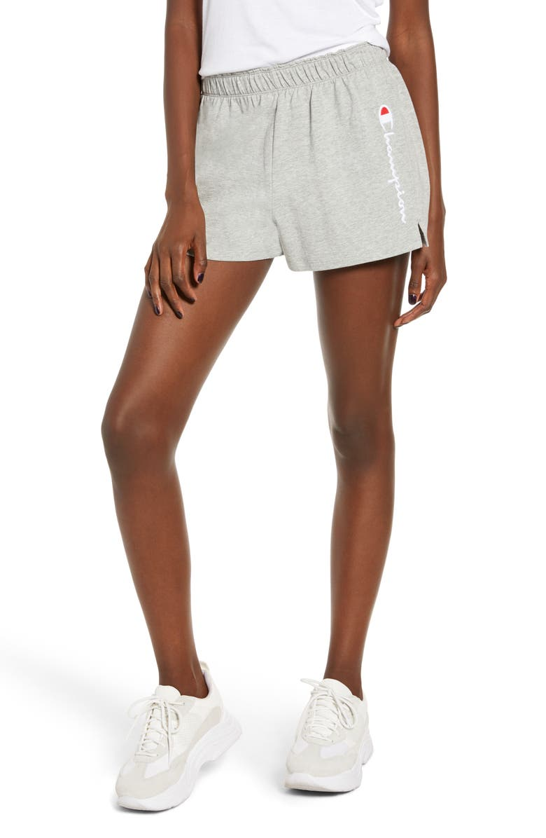CHAMPION Embroidered Script Logo Athletic Shorts, Main, color, 021