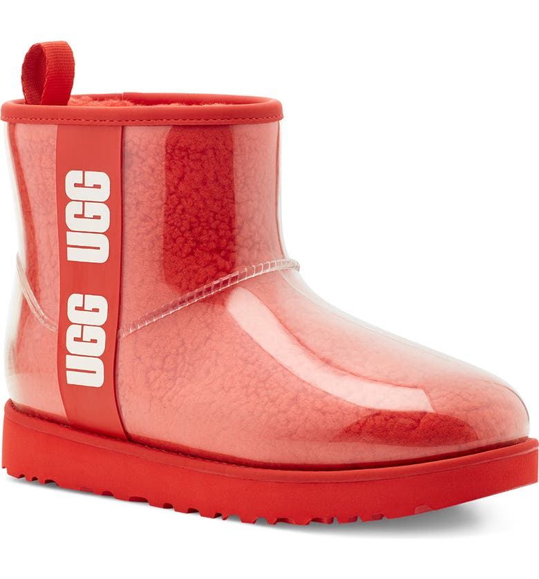UGG<SUP>®</SUP> Classic Mini Waterproof Clear Boot, Main, color, LAVA FLOW