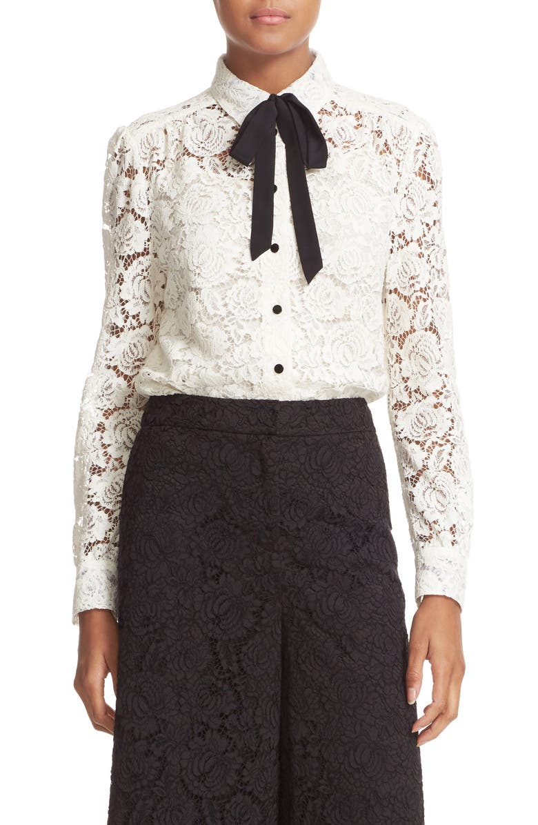 KATE SPADE NEW YORK bow tie lace shirt, Main, color, FRENCH CREAM