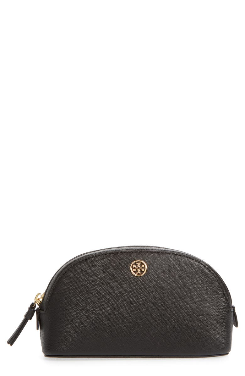 TORY BURCH Robinson Small Leather Cosmetic Bag, Main, color, 001