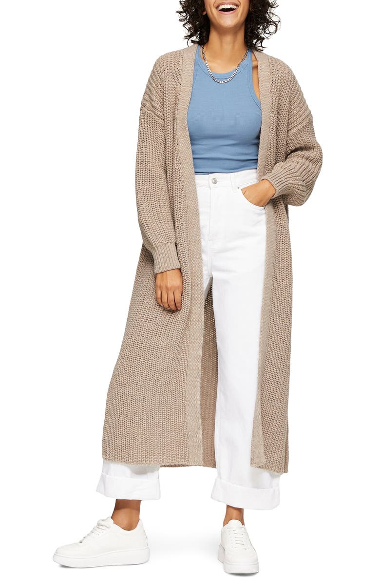 TOPSHOP Open Front Maxi Cardigan, Main, color, STONE