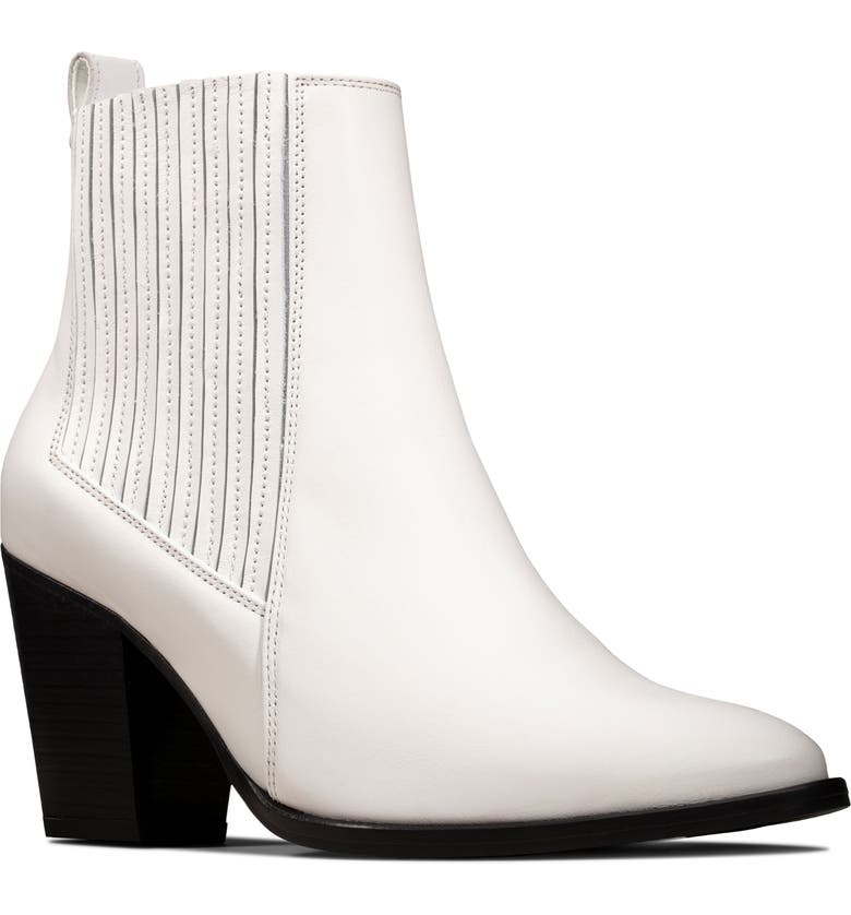 CLARKS<SUP>®</SUP> West Lo Bootie, Main, color, WHITE LEATHER
