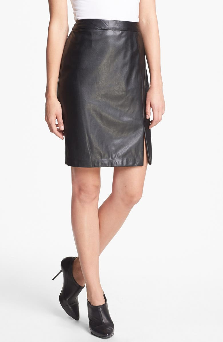 CHAUS Faux Leather Skirt, Main, color, 001