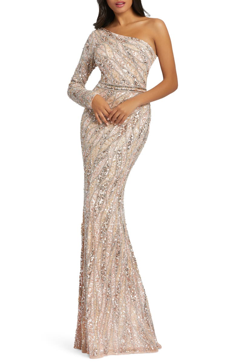 MAC DUGGAL Embellished One-Sleeve Gown, Main, color, ROSE GOLD