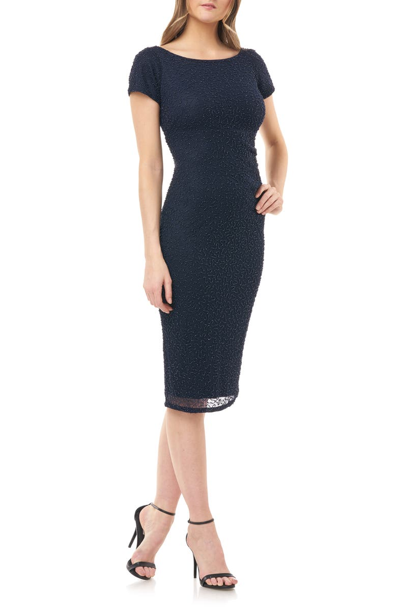 JS COLLECTIONS Beaded Cocktail Dress, Main, color, NAVY