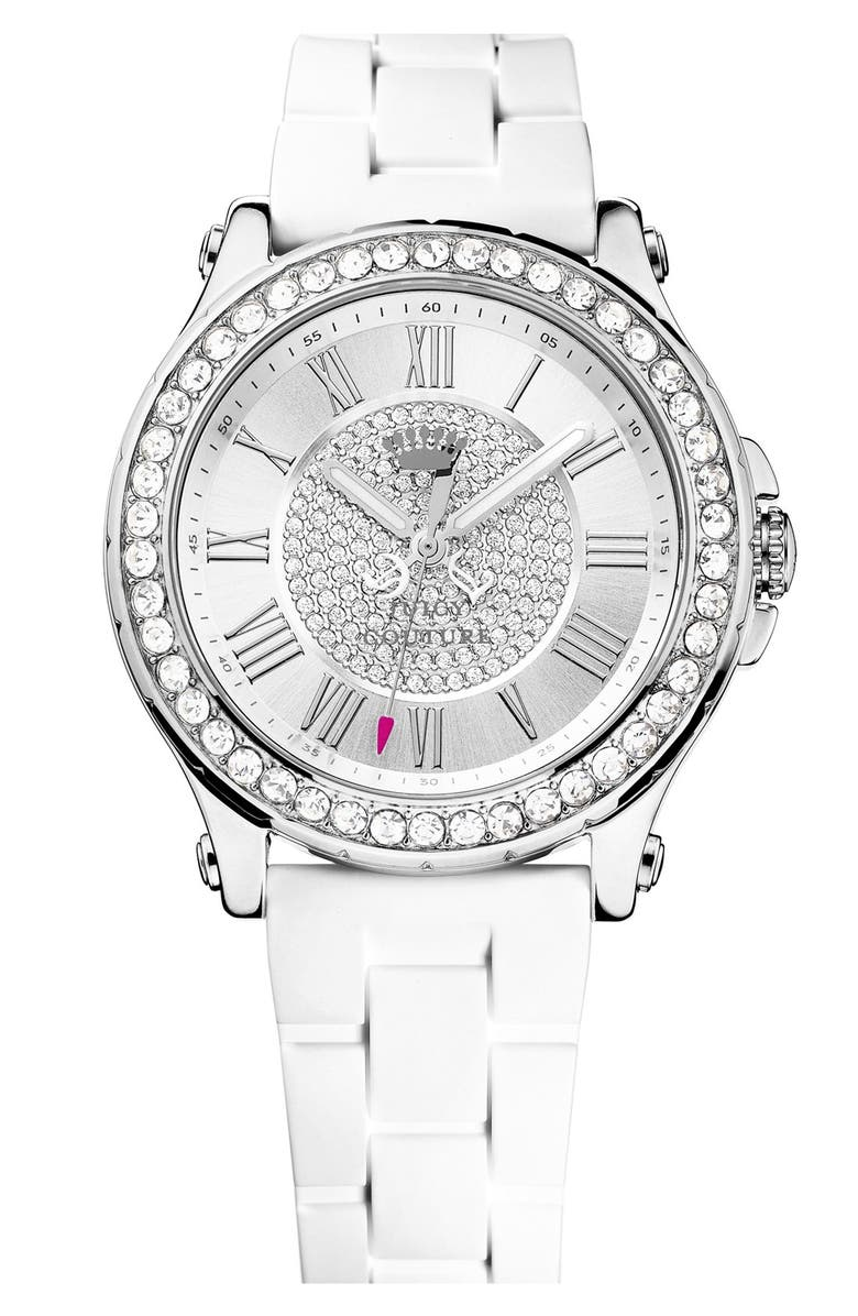 JUICY COUTURE 'Pedigree' Pavé Dial Jell Strap Watch, 38mm, Main, color, WHITE/ SILVER