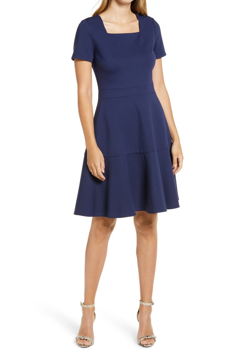 RACHEL PARCELL Square Neck Fit & Flare Dress, Main, color, NAVY PEACOAT