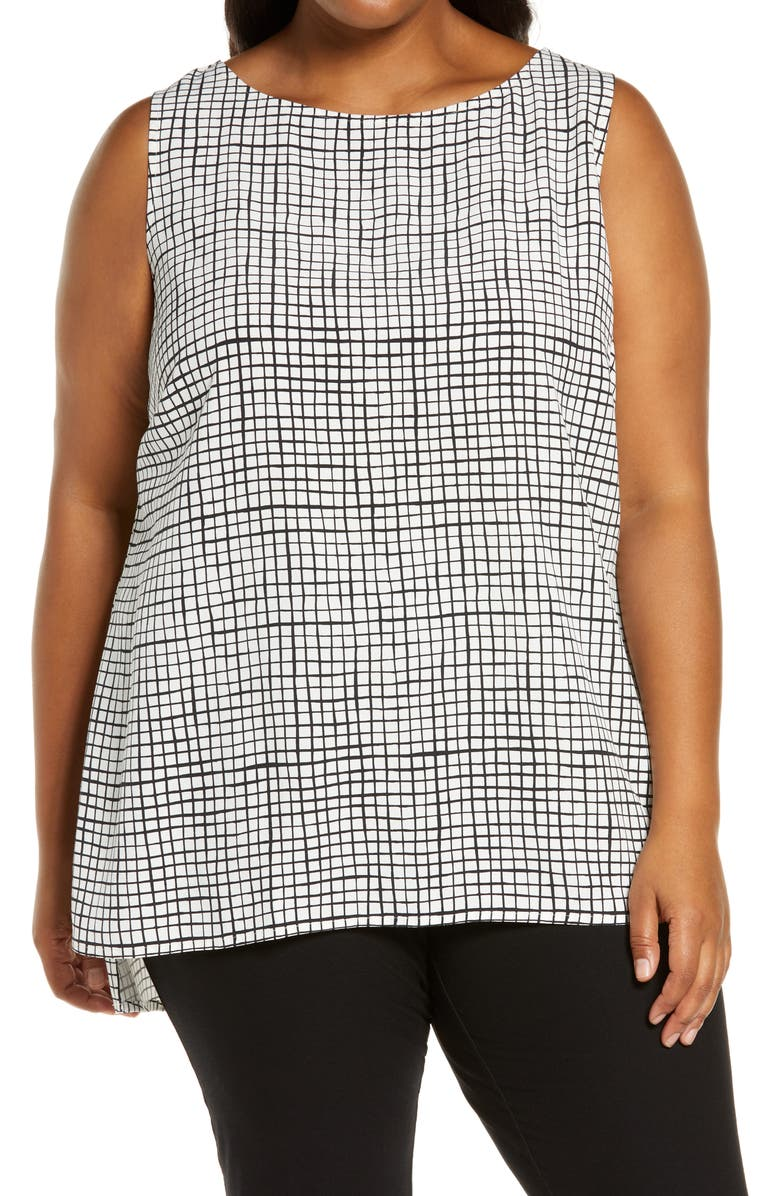 EILEEN FISHER Bateau Neck Shell, Main, color, BLACK/ WHITE