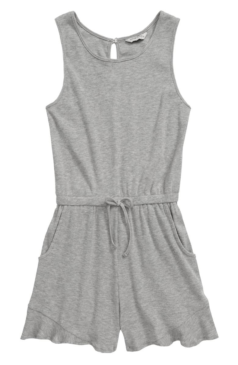 HABITUAL GIRL Wendy Flounce Knit Romper, Main, color, GREY HEATHER
