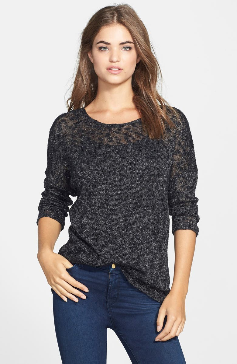 TWO BY VINCE CAMUTO Silver Shimmer Mélange Pullover, Main, color, RICH BLACK