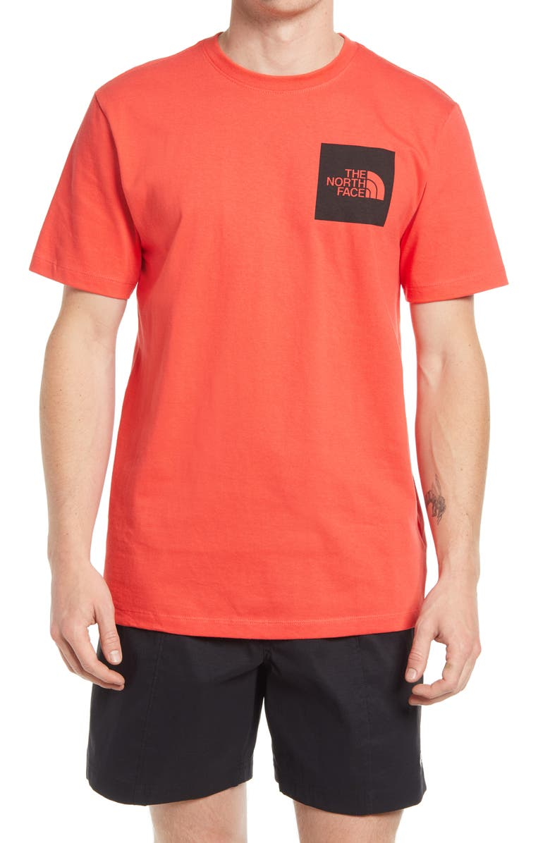 THE NORTH FACE Fine Logo Graphic Tee, Main, color, HORIZON RED