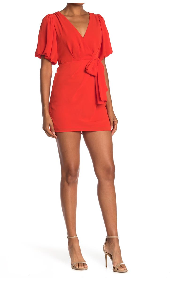 DO AND BE Surplice Neck Side Tie Dress, Main, color, ORANGE RED