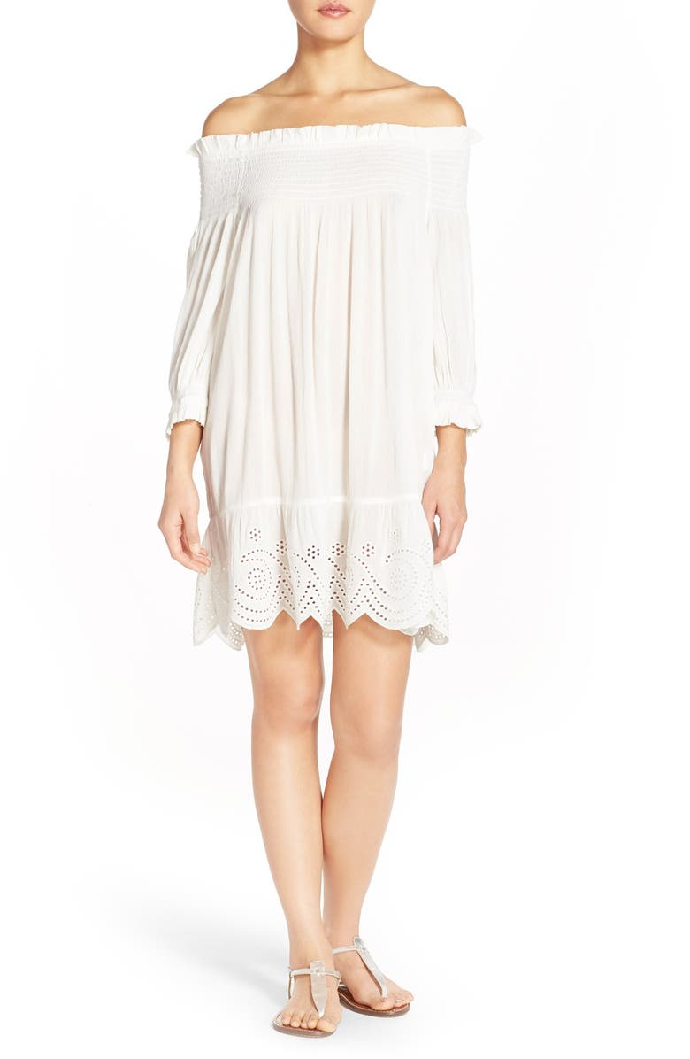 TORY BURCH Off the Shoulder Dress, Main, color, NEW IVORY