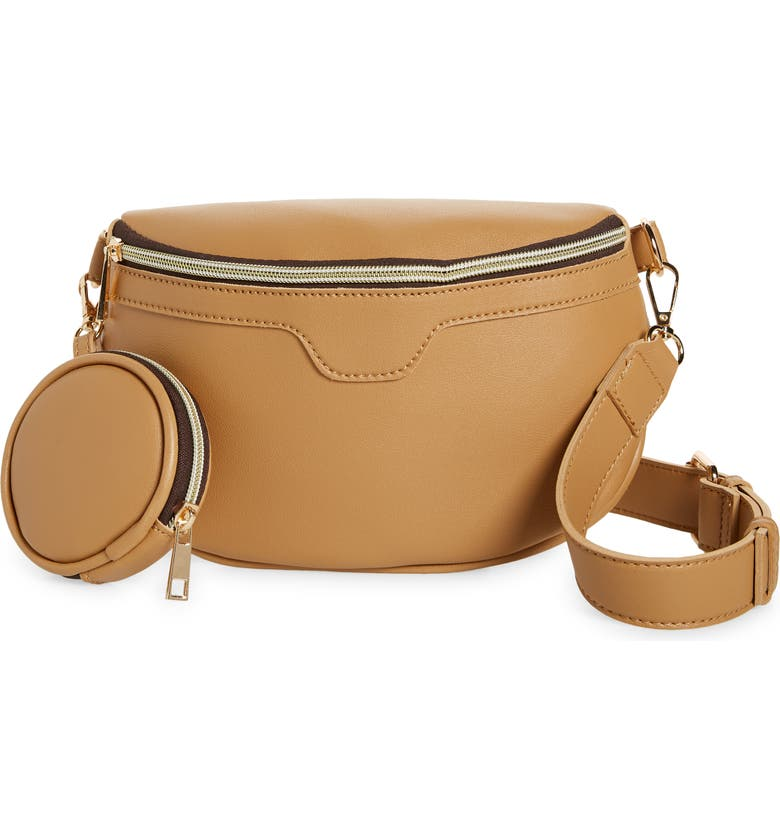 STREET LEVEL Faux Leather Crossbody Bag & Coin Purse, Main, color, NUDE