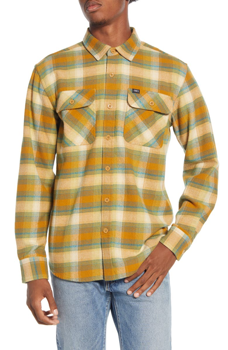 OBEY South Pass Plaid Button-Up Flannel Shirt, Main, color, 240