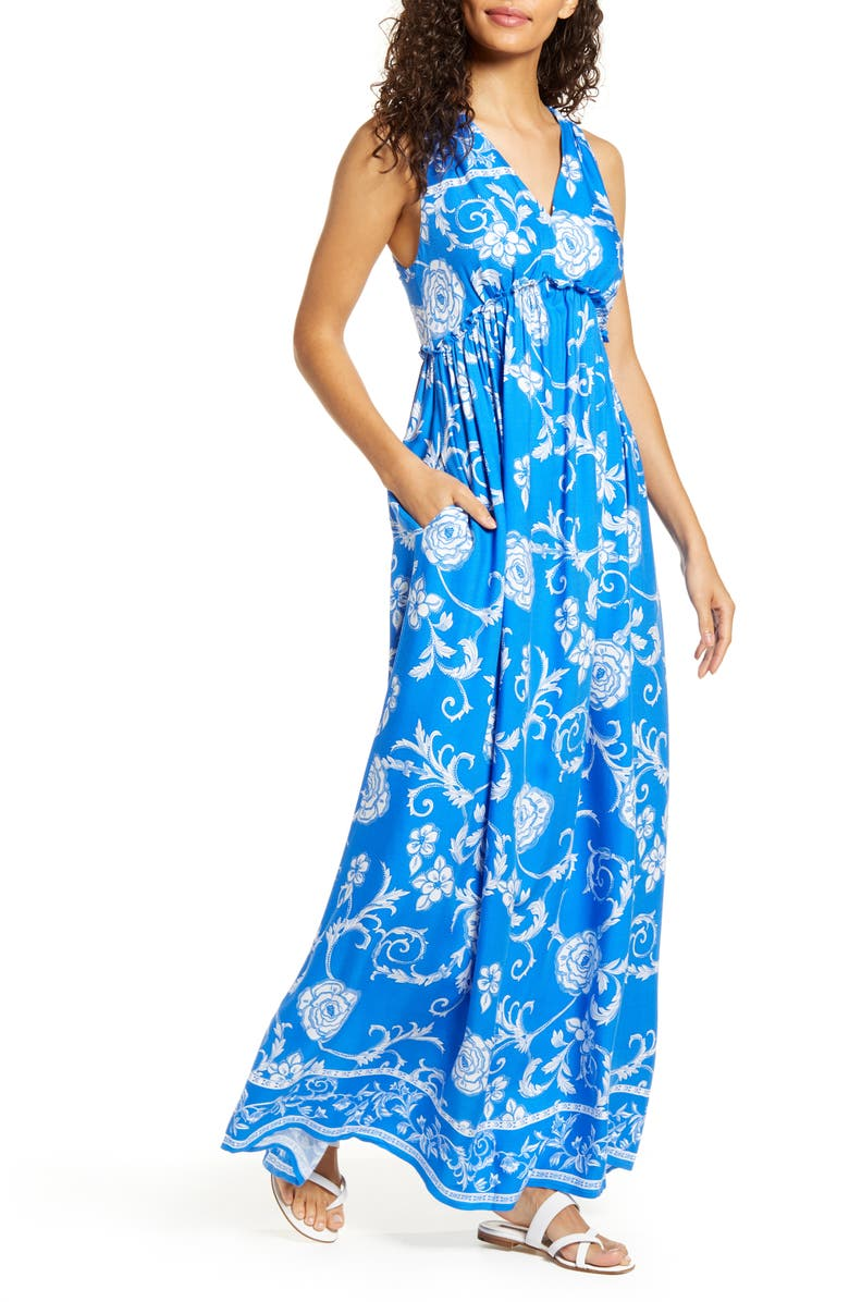 GIBSONLOOK x Hi Sugarplum! Amalfi Border Maxi Dress, Main, color, 400