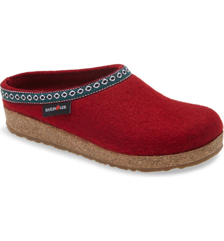 HAFLINGER Grizzly Clog Slipper, Main, color, CHILI WOOL