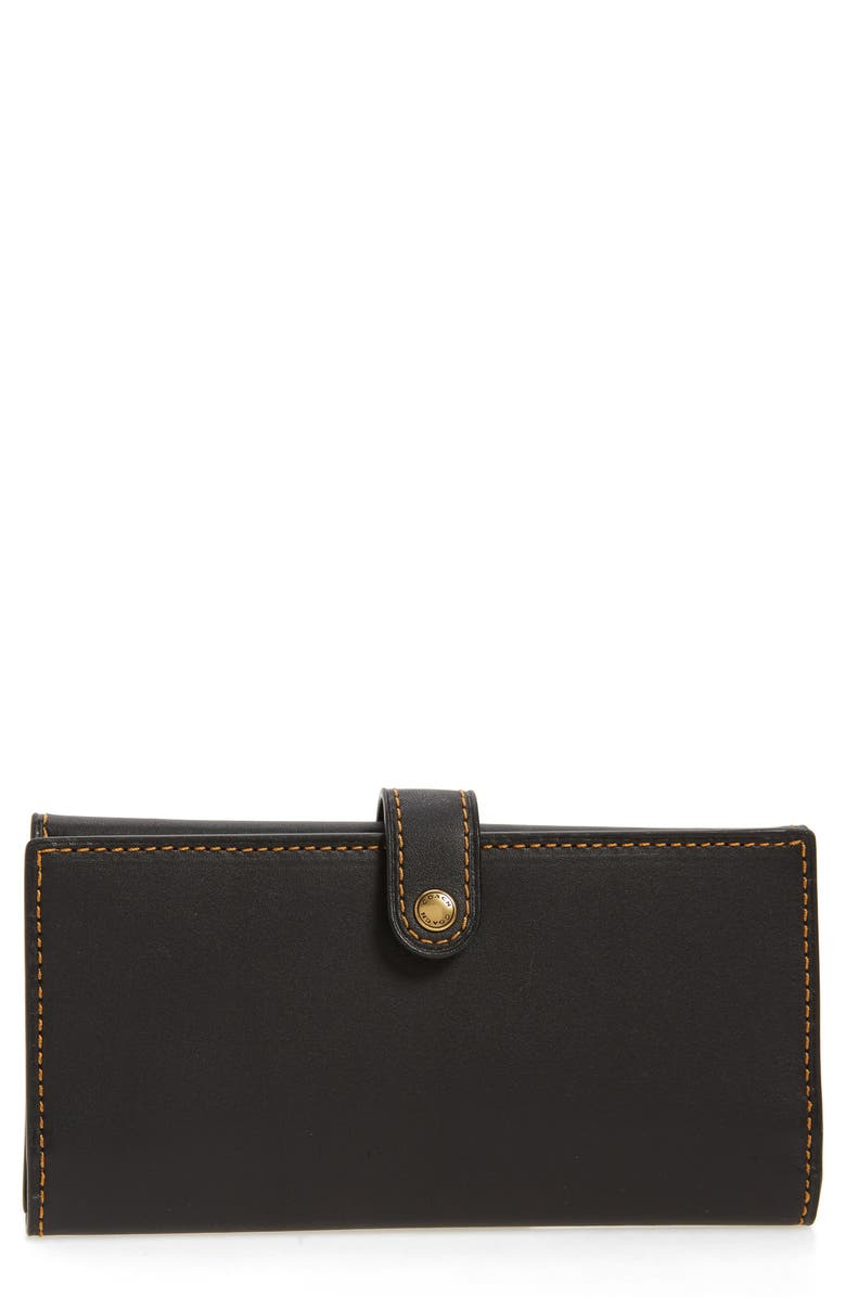 COACH Slim Leather Trifold Wallet, Main, color, Black