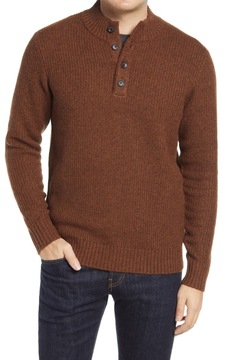 PETER MILLAR Button Placket Pullover Sweater, Main, color, 210