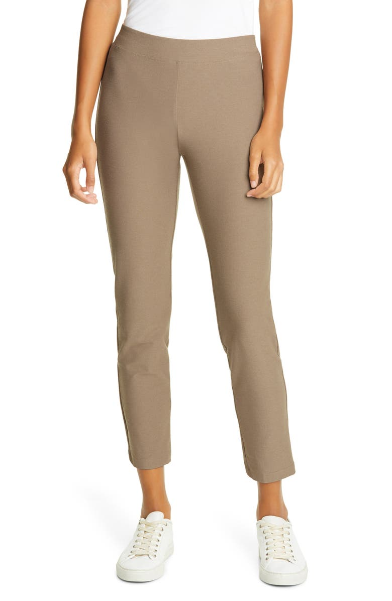 EILEEN FISHER Stretch Crepe Slim Ankle Pants, Main, color, DRIFTWOOD