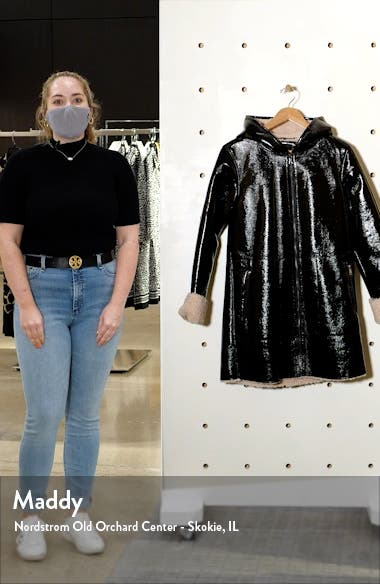 Faux Shearling Lined Patent Leather Coat, sales video thumbnail