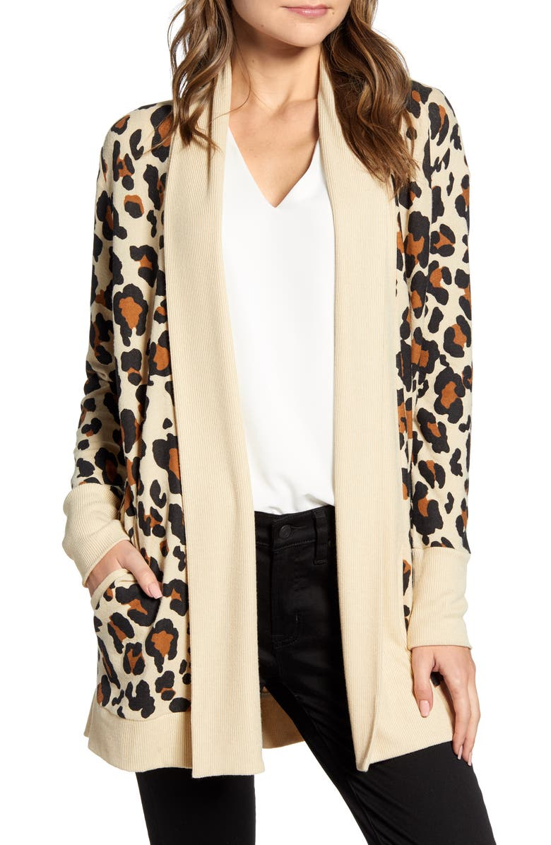 GIBSONLOOK Gibson Cozy Ribbed Cardigan, Main, color, NEUTRAL LEOPARD