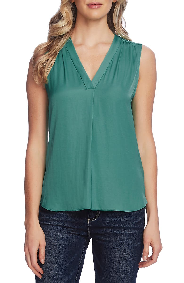 VINCE CAMUTO Rumpled Satin Blouse, Main, color, TEAL LAKE