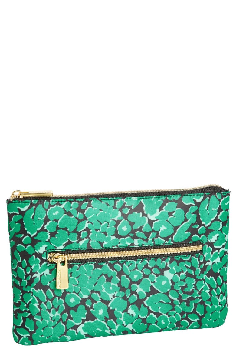 NORDSTROM Green Leopard Flat Pouch, Main, color, GREEN LEOPARD