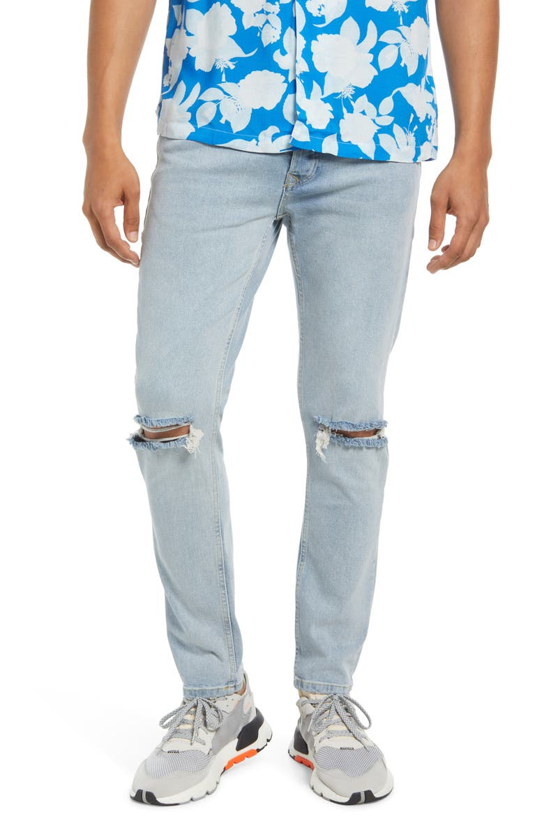 TOPMAN Ripped Skinny Jeans, Main, color, BLUE
