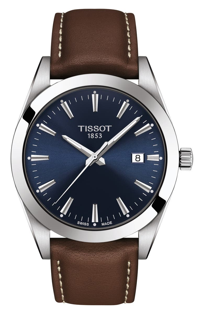 TISSOT T-Classic Gentleman Leather Strap Watch, 40mm, Main, color, BROWN/ BLUE/ SILVER