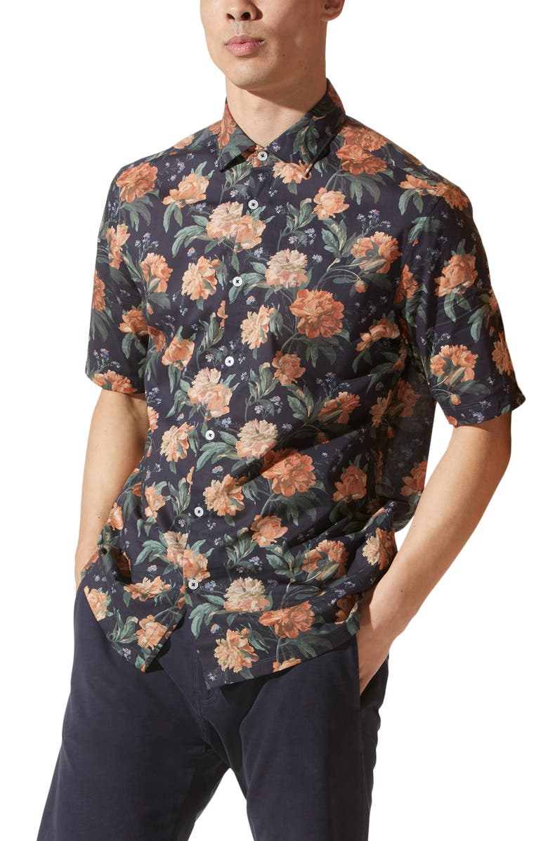 GOOD MAN BRAND On-Point Print Short Sleeve Button-Up Shirt, Main, color, NAVY BLOOMA FLORAL