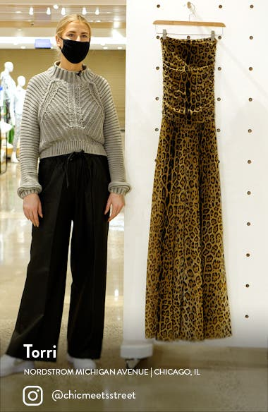 Leopard Print Strapless Mesh Jumpsuit, sales video thumbnail