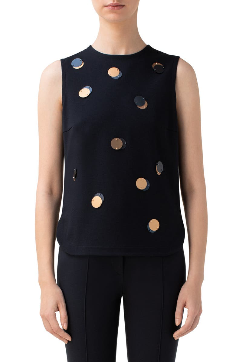 AKRIS PUNTO Sequin Sleeveless Jersey Top, Main, color, NAVY