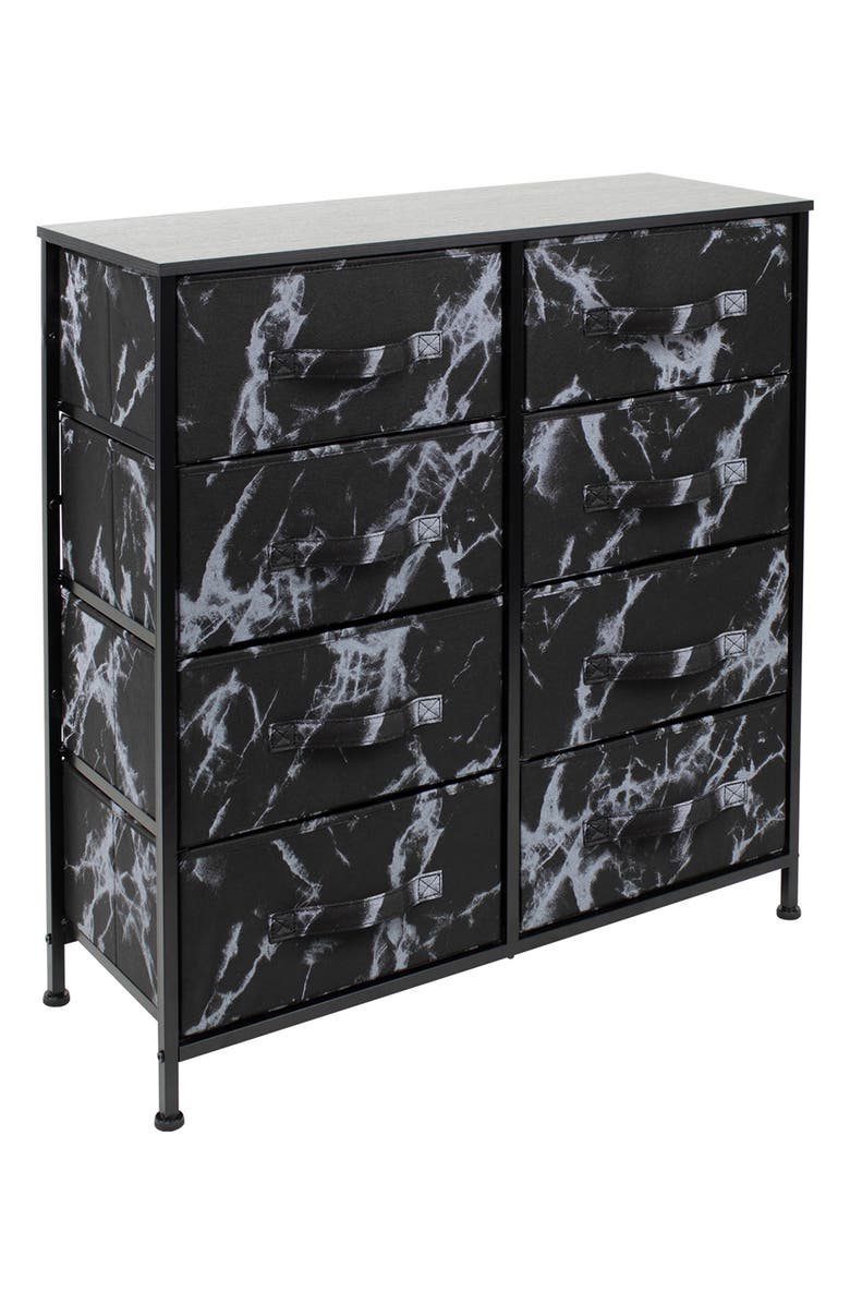 SORBUS Extra Wide Dresser Organizer With 8 Drawers - Black Frame Black Marble, Main, color, MARBLE