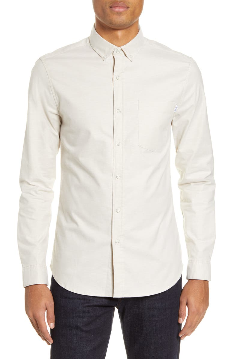 TOPMAN Slim Fit Stretch Button-Down Oxford Shirt, Main, color, 250