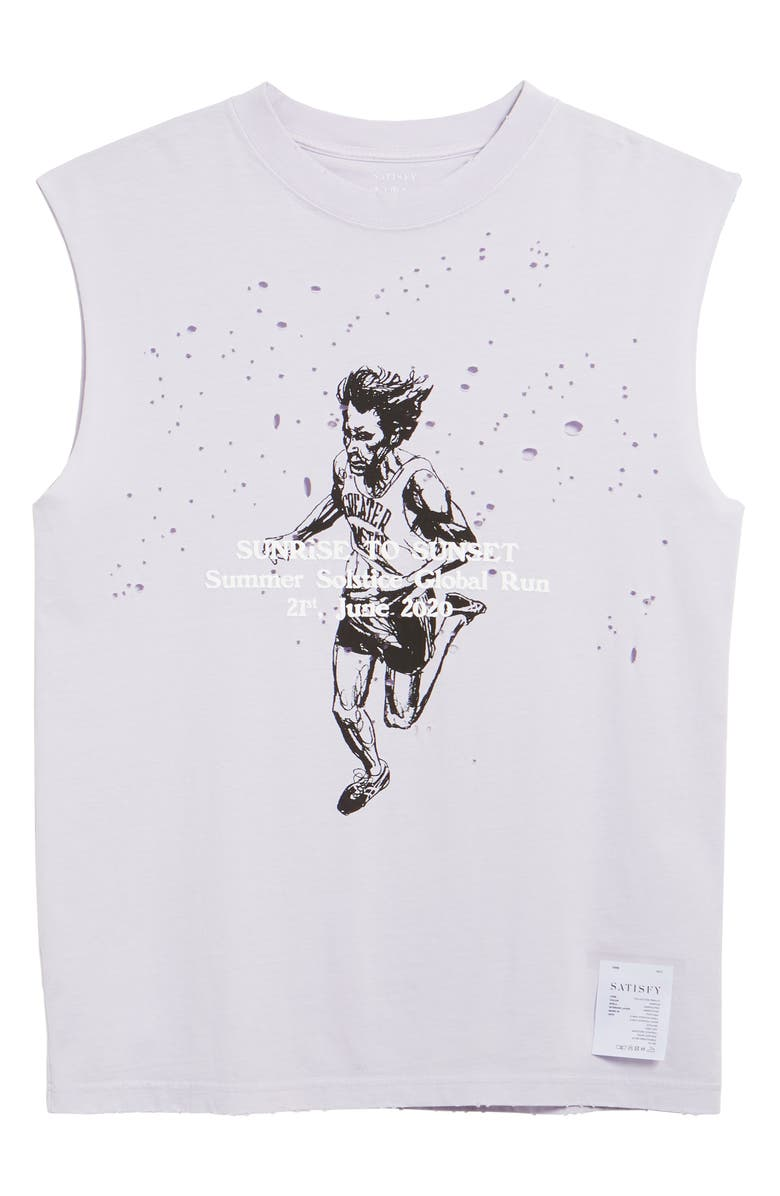 SATISFY Sunrise to Sunset Moth Eaten Graphic Muscle Tee, Main, color, 530