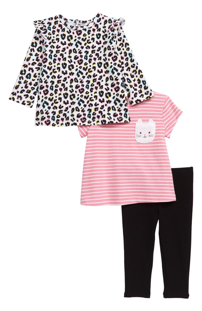 LITTLE ME Kitty Tunic, Tee & Leggings Set, Main, color, 001