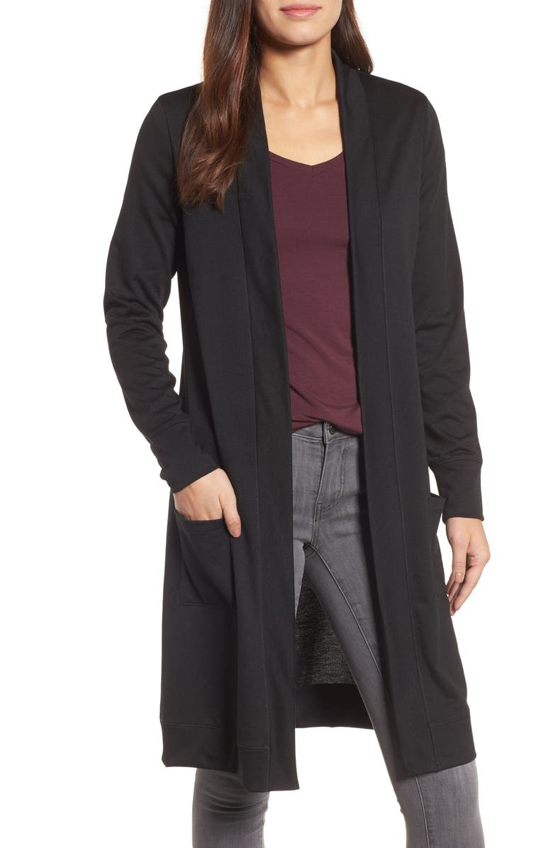 CASLON<SUP>®</SUP> Long French Terry Cardigan, Main, color, Black