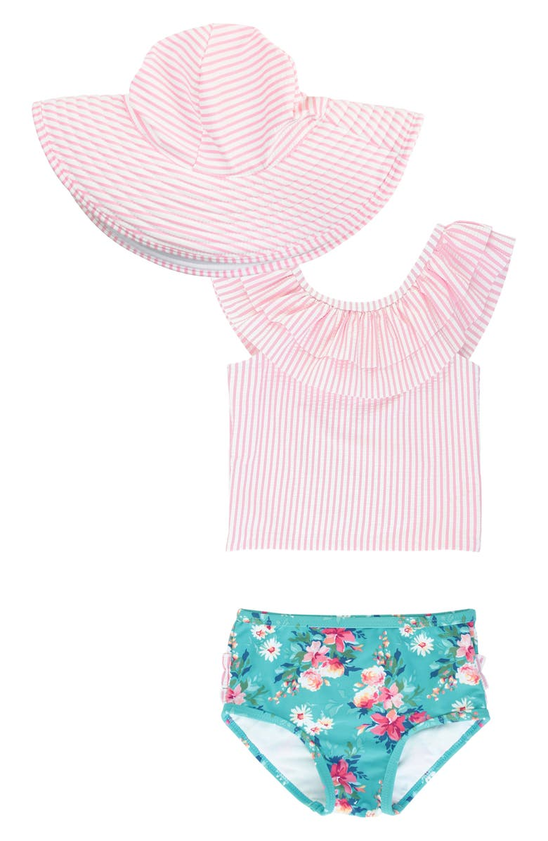 RUFFLEBUTTS Fancy Frill Two-Piece Swimsuit & Floppy Hat Set, Main, color, Pink