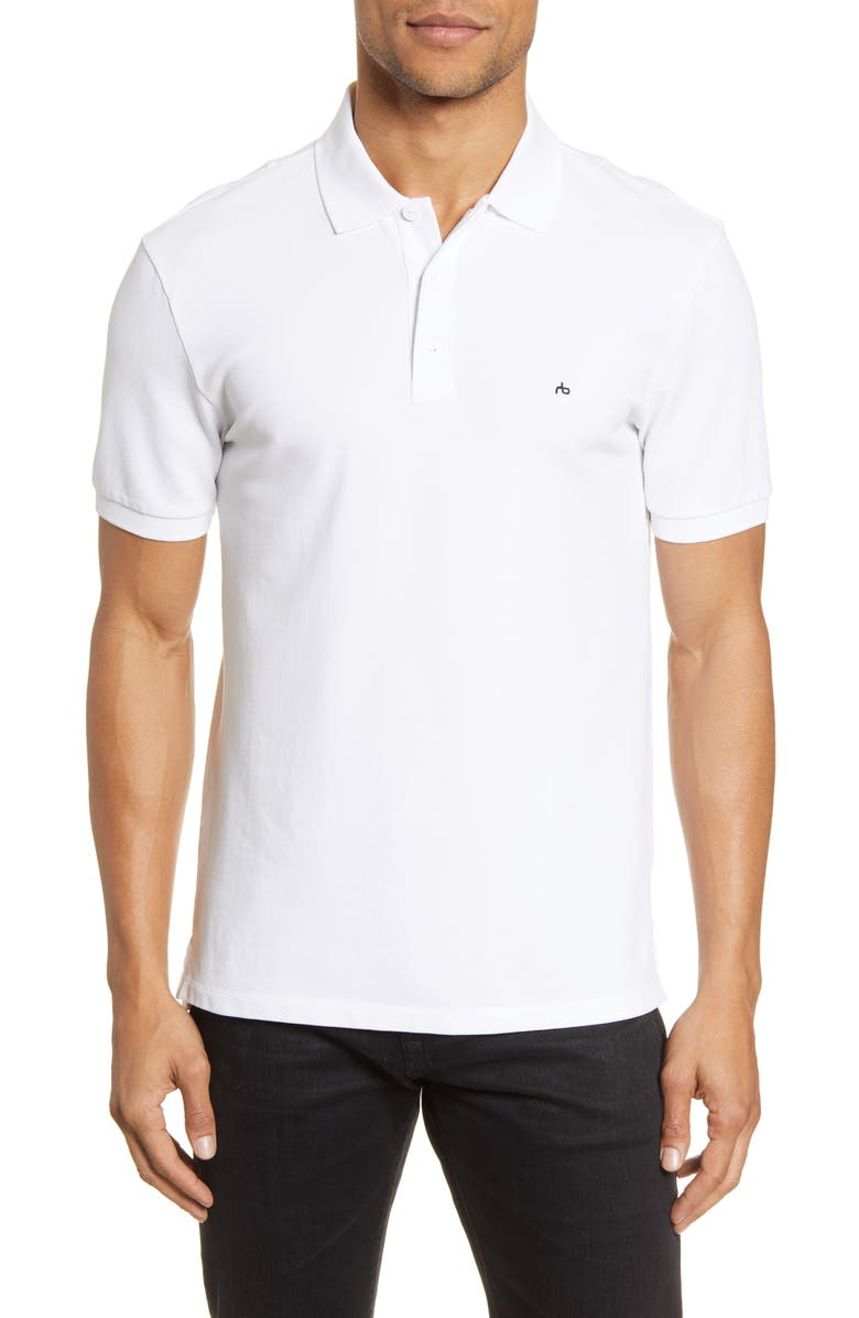 RAG & BONE Hyper Laundered Slim Fit Piqué Polo, Main, color, WHITE